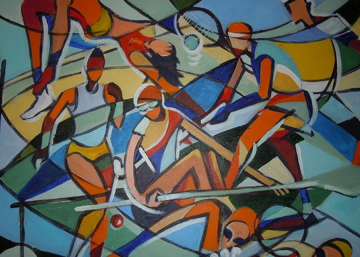 Mural Greeting Card featuring the painting London Olympics Inspired by Michael Echekoba