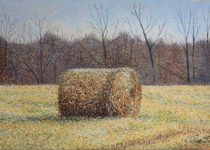 Haybale Greeting Card featuring the painting Lone Haybale by Patsy Sharpe