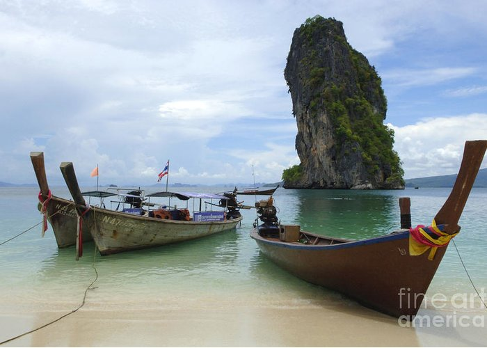 Phuket Greeting Card featuring the photograph Long Tail Boats Thailand by Bob Christopher