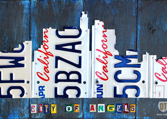 California Greeting Card featuring the mixed media Los Angeles Skyline License Plate Art by Design Turnpike