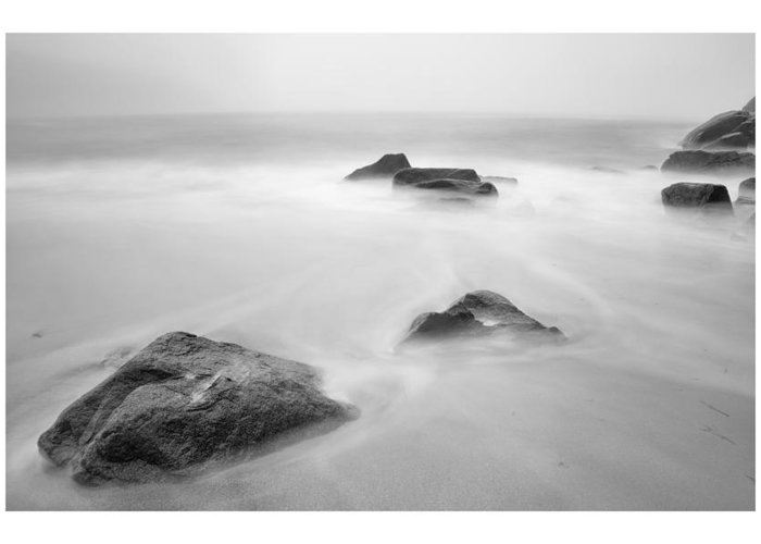 Black And White Greeting Card featuring the photograph Lost Rocks by Chad Tracy