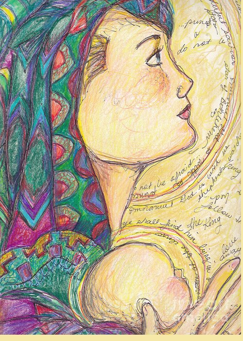 Mother Mary Greeting Card featuring the drawing Love Came Down At Christmas by Michele Hollister - for Nancy Asbell