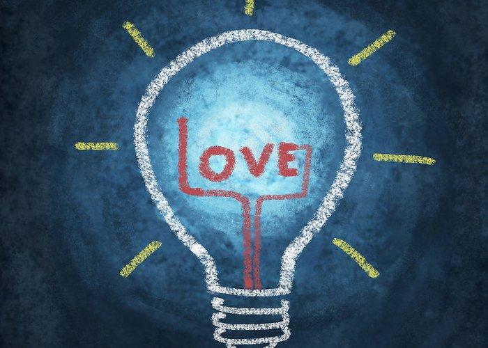 Attentive Greeting Card featuring the photograph Love Word In Light Bulb by Setsiri Silapasuwanchai