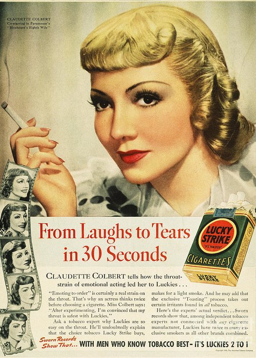 1938 Greeting Card featuring the photograph Luckys Cigarette Ad, 1938 by Granger