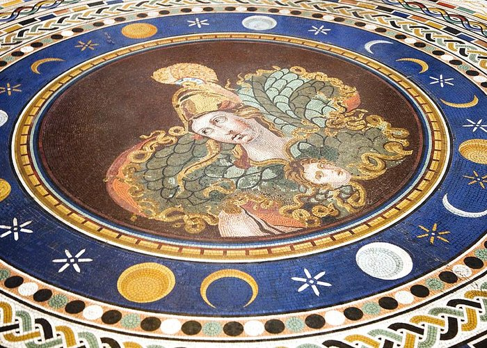 Athena Greeting Card featuring the photograph Lunar Phases, 3rd Century Roman Mosaic by Sheila Terry
