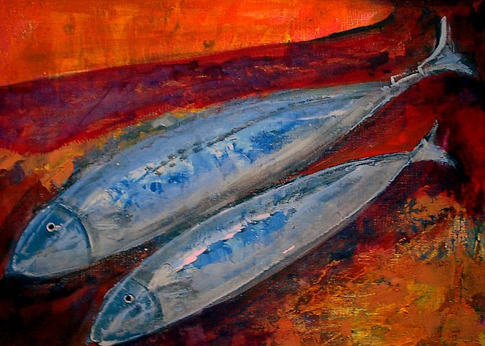 Painting Greeting Card featuring the painting Mackerels In The Sunset by Aquira Kusume