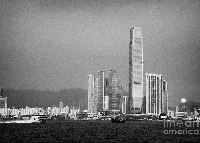 Victoria Greeting Card featuring the photograph Madeira Hydrofoil Macau Ferry Speeds Towards Kowloon Skyline Hong Kong Hksar China Asia by Joe Fox