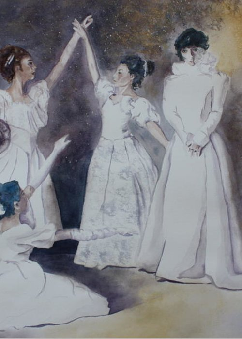 Ballet Dancers Greeting Card featuring the painting Magic by Patsy Sharpe