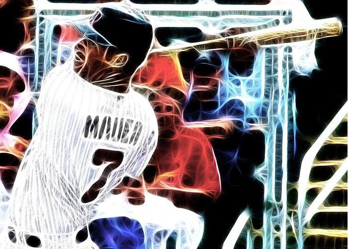 Minnesota Twins Greeting Card featuring the digital art Magical Joe Mauer by Paul Van Scott
