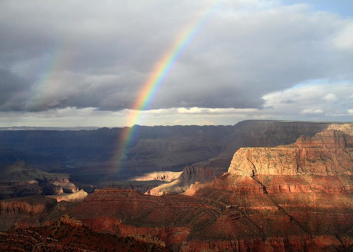 Rainbow Greeting Card featuring the photograph Magical Rainbow In The Grand Canyon by Pierre Leclerc Photography