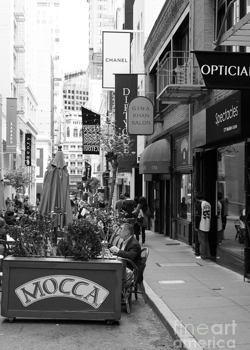 San Francisco Greeting Card featuring the photograph Maiden Lane San Francisco California - 5d19376 - Black And White by Wingsdomain Art and Photography
