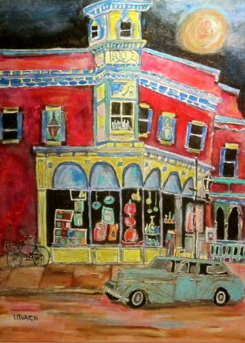 Granby Quebec Greeting Card featuring the painting Main Street 1940's by Michael Litvack