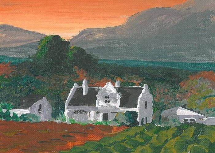 Main House Greeting Card featuring the painting Mainhouse Petite by DC Decker