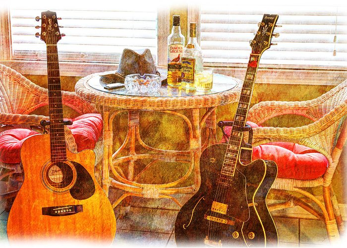 Guitar Greeting Card featuring the photograph Making Music 003 by Barry Jones