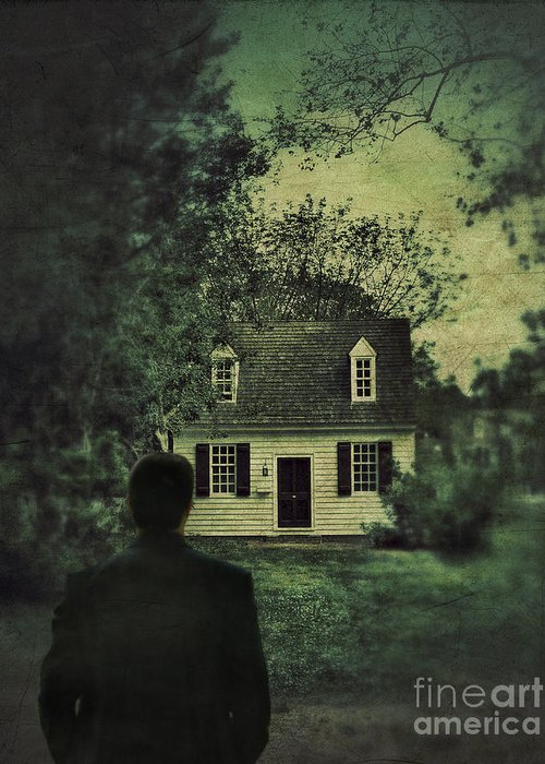 Man Greeting Card featuring the photograph Man In Front Of Cottage by Jill Battaglia