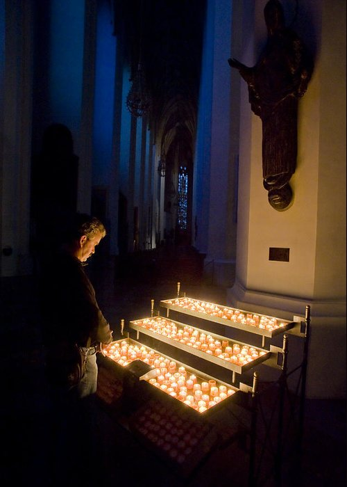 Color Image Greeting Card featuring the photograph Man Prays By Candles At Frauenkirche by Greg Dale