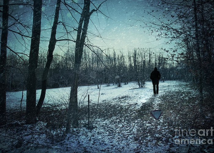 Abandoned Greeting Card featuring the photograph Man Walking In Snow At Winter Twilight by Sandra Cunningham