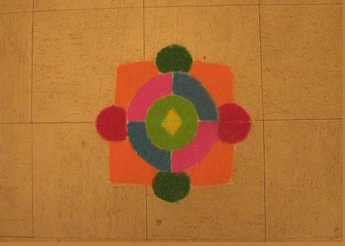 Mandal Infused Within Square Greeting Card featuring the painting Mandal Rangoli by Sonali Gangane