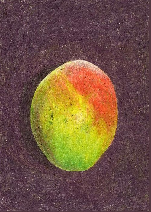 Mango Greeting Card featuring the drawing Mango On Plum by Steve Asbell