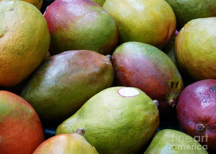 Mangoes Greeting Card featuring the photograph Mangoes by Methune Hively