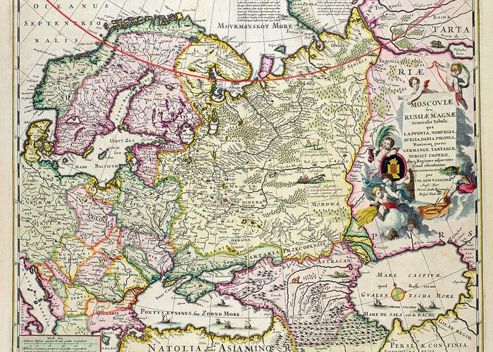 Maps Greeting Card featuring the drawing Map Of Asia Minor by Nicolaes Visscher