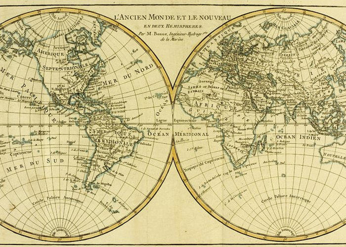 Maps Greeting Card featuring the drawing Map Of The World In Two Hemispheres by Guillaume Raynal