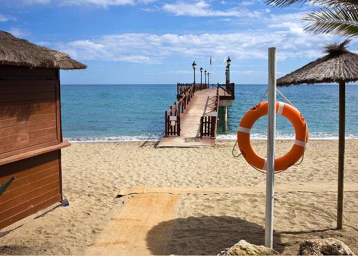 Beach Greeting Card featuring the photograph Marbella Beach In Spain by Artur Bogacki
