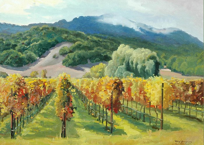 Napa Valley Greeting Card featuring the painting March Of November by Paul Youngman