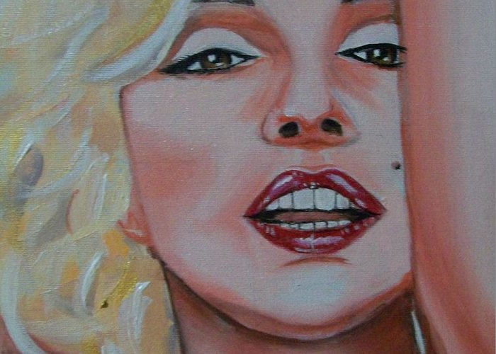 Marilyn Munroe Greeting Card featuring the painting Marilyn by Reneza Waddell