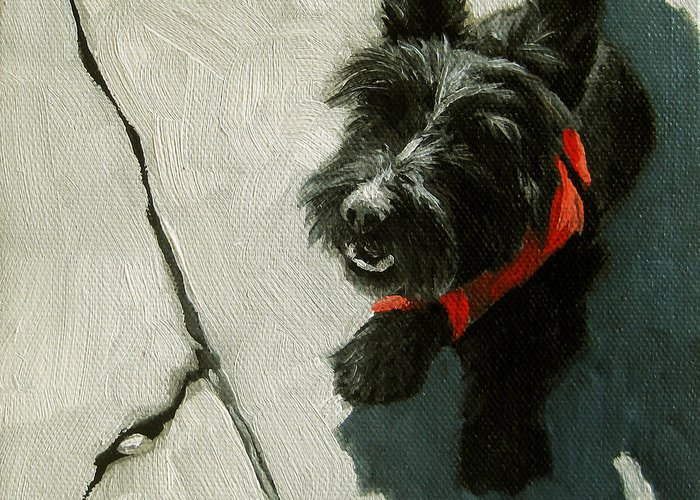 Scottie Dog Greeting Card featuring the painting Market Day - Scottie Dog by Linda Apple
