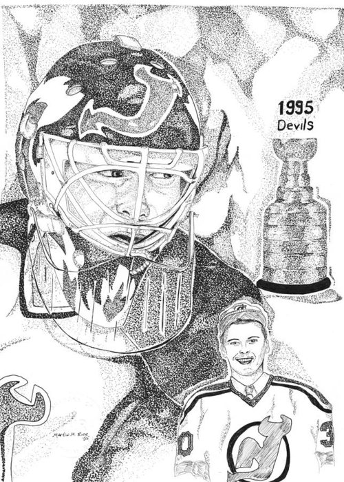 This Image Of Martin Brodeur Of The New Jersey Devils Took Over 12 Hours To Complete And Has Over 100 Greeting Card featuring the drawing Martin Brodeur Sports Portrait by Marty Rice