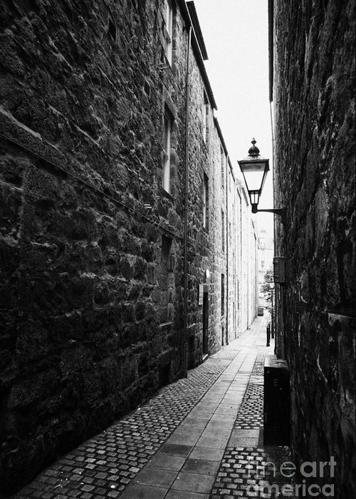 Martins Greeting Card featuring the photograph Martins Lane Narrow Entrance To Tenement Buildings In Old Aberdeen Scotland Uk by Joe Fox