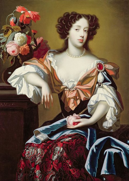 Mary Greeting Card featuring the painting Mary Of Modena by Simon Peeterz Verelst