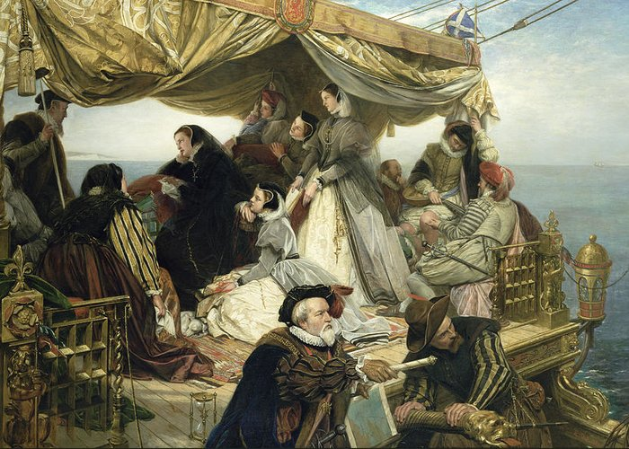 Maids; Scotland; Flag; Melancholy; Sad; Queen Of Scots; Deck; Ship; Channel; Navigating; Unhappy; Lute; Books; Servants; Map; Advisors; Costume; Fashion Greeting Card featuring the painting Mary Stuart's Farewell To France by Henry Nelson O Neil