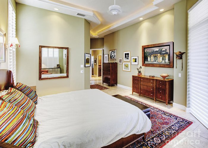 Architectural Detail Greeting Card featuring the photograph Master Bedroom by Skip Nall
