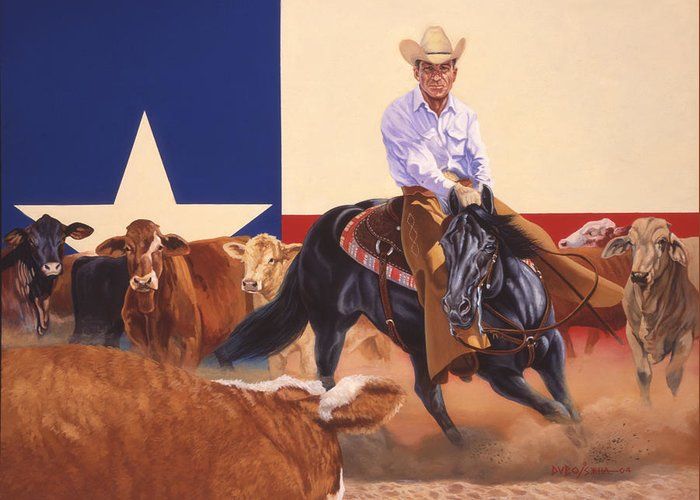 Hall Of Fame Cowboy Greeting Card featuring the painting Matlock Rose On Peponita by Howard Dubois