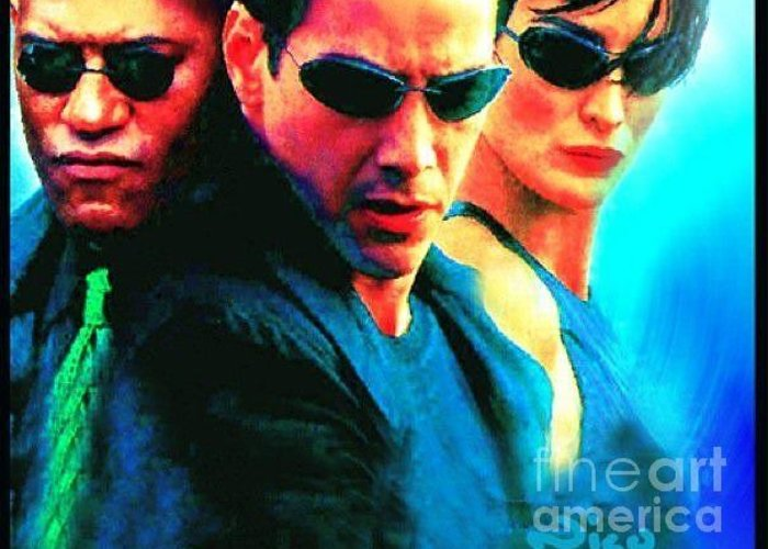 The Matrix Greeting Card featuring the painting Matrix Reeves by Nicholas Nixo