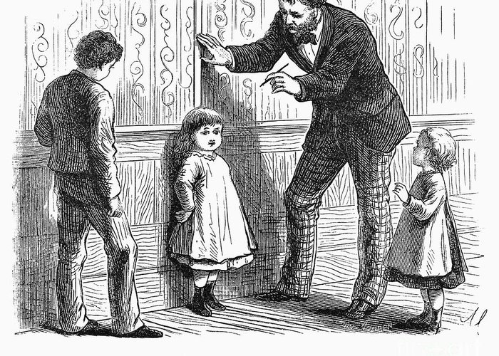 1876 Greeting Card featuring the photograph Measuring Children, 1876 by Granger