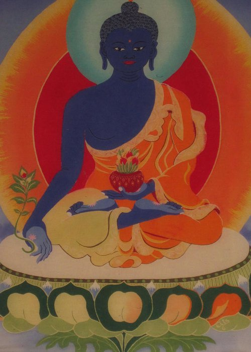 Buddha Greeting Card featuring the tapestry - textile Medicine Buddha by Elisabeth Van der Horst