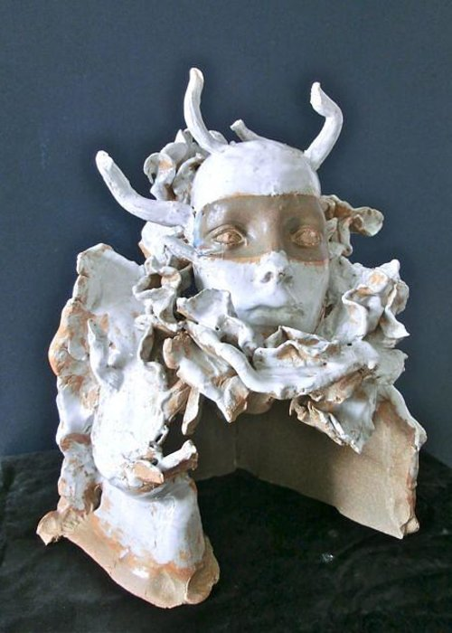Ceramic Medusa Sculpture Greeting Card featuring the ceramic art Medusa by Roger Leighton