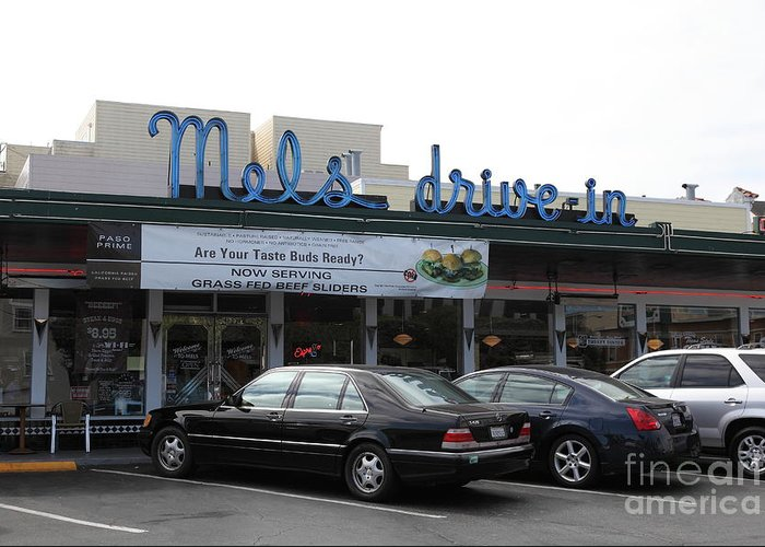 San Francisco Greeting Card featuring the photograph Mel's Drive-in Diner In San Francisco - 5d18012 by Wingsdomain Art and Photography