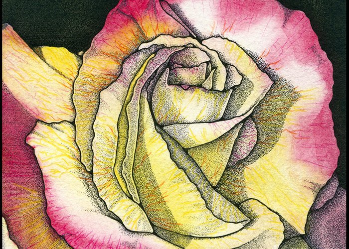 Rose Greeting Card featuring the painting Memories by Nora Blansett