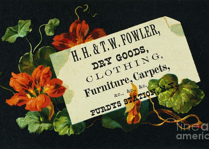 1880s Greeting Card featuring the photograph Merchant Trade Card, C1880 by Granger