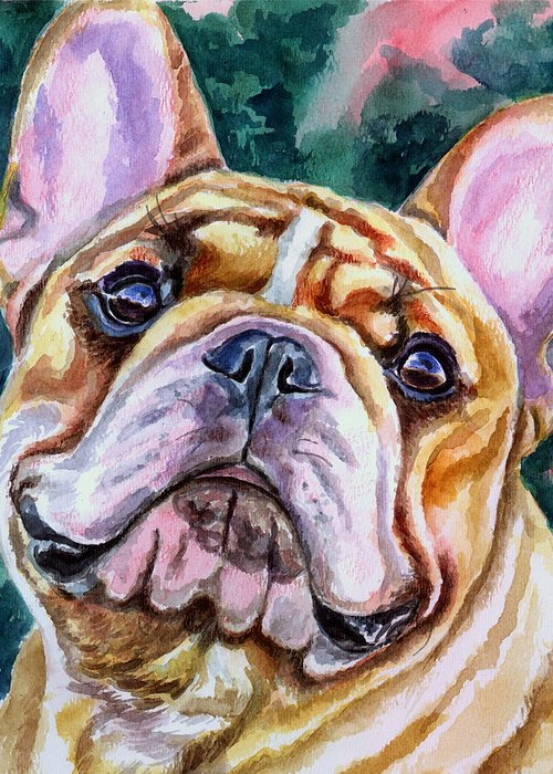 French Bulldog Greeting Card featuring the painting Mesmerizing Eyes by Lyn Cook