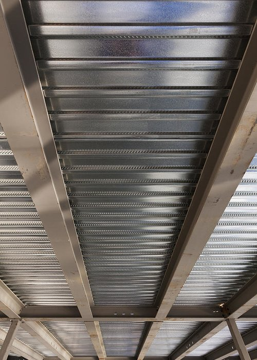 No People Greeting Card featuring the photograph Metal Decking Over Structural Steel by Don Mason
