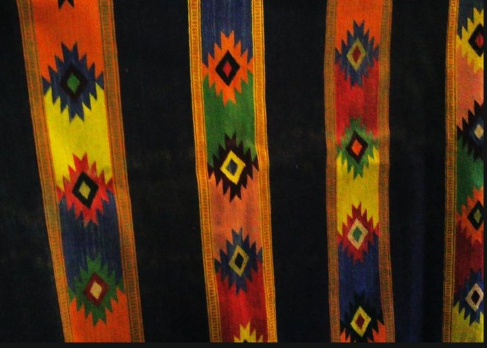Colorful Greeting Card featuring the tapestry - textile Mexican Throw Rug Colorful by Unique Consignment