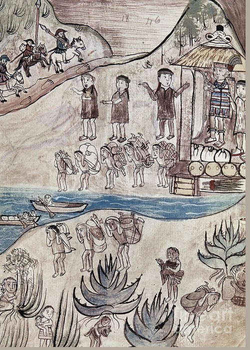 16th Century Greeting Card featuring the painting Mexico Indians C1500 by Granger