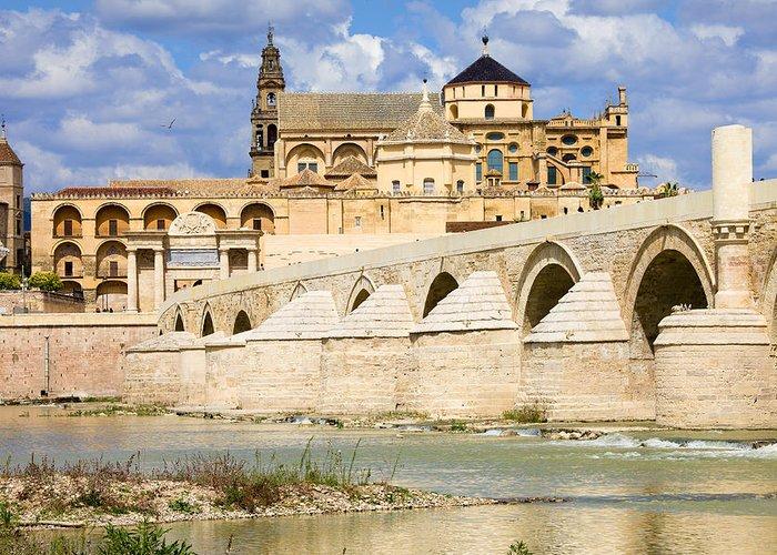 Cordoba Greeting Card featuring the photograph Mezquita Cathedral And Roman Bridge In Cordoba by Artur Bogacki