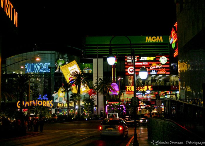 Las Vegas Greeting Card featuring the photograph MGM by Charles Warren