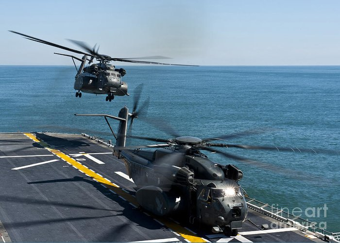 Uss Wasp Greeting Card featuring the photograph Mh-53e Sea Dragon Helicopters Take by Stocktrek Images